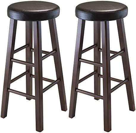 Winsome Wood Marta Assembled Round Bar Stool with PU Leather Cushion Seat and Square Legs, 30.3-Inch, Set of 2