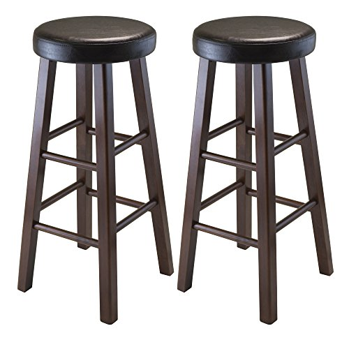 Winsome Wood Marta Assembled Round Bar Stool with PU Leather Cushion Seat and Square Legs, 30.3-Inch, Set of 2 (Stools Bar Wooden Breakfast)