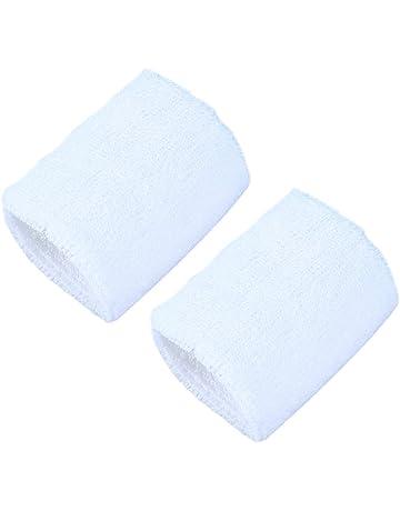 VORCOOL 2PC Deportes Muñequera Sudorosa Toalla Corriendo Baloncesto Muñequera Elástica Bandas de Mano de algodón Blanco