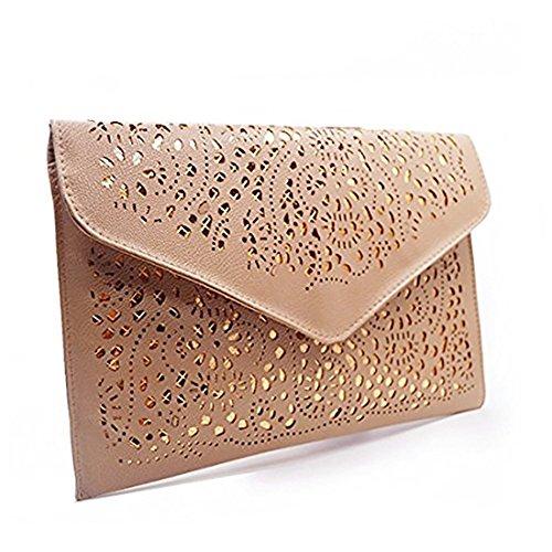 Bag Chain Shoulder Handbag Obazidou Flower Beige Envelop Clutch Tote Out Hollow qx0w6X8O