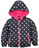 Pink Platinum Toddler Girls' Tod Polka Dot Active Jacket with Fleece Lining, Ebony, 2T