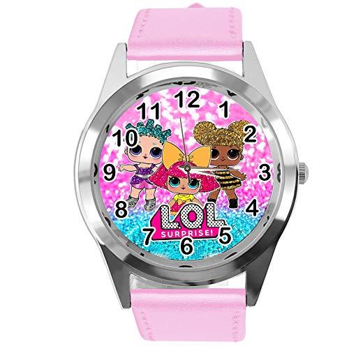 Reloj de cuarzo con correa de piel auténtica, color rosa redondo para fanáticos de las muñecas