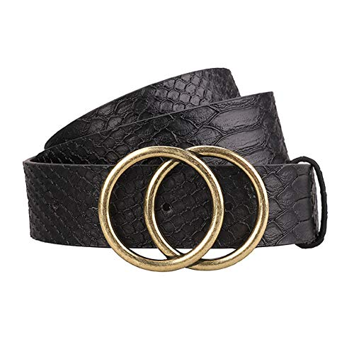 Women's Leather Belt Fashion Style Soft Faux Leather Waist Belts with Gold Double Round Buckle for Pants Jeans Dresses (Black-01, M)