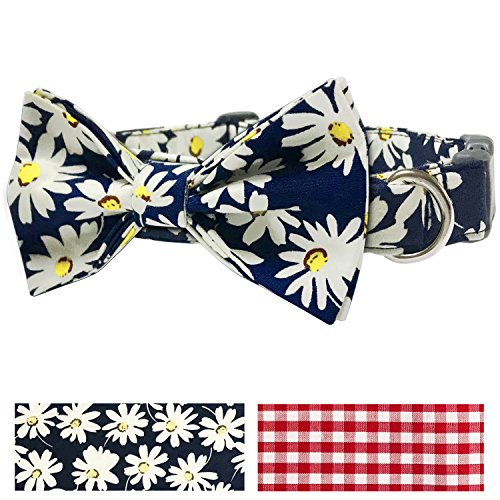 Pet Rejoir Creative Floral Dog Collar Collection- Unisex Classic Bloom- Timeless Charming Oxford Blue Daisy Dog Collar with Bowtie- Neck 19~25