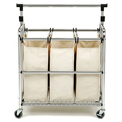 Seville Classics 3-Bag Laundry Hamper Sorter Cart with Clothes Rack