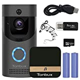 Wireless Smart Video Doorbell Camera WiFi Security Door Camera with Indoor Chime, 16GB Storage Card, 2-Way Talk, Night Vision, PIR Motion Detection, APP Control for iOS Android TONBUX
