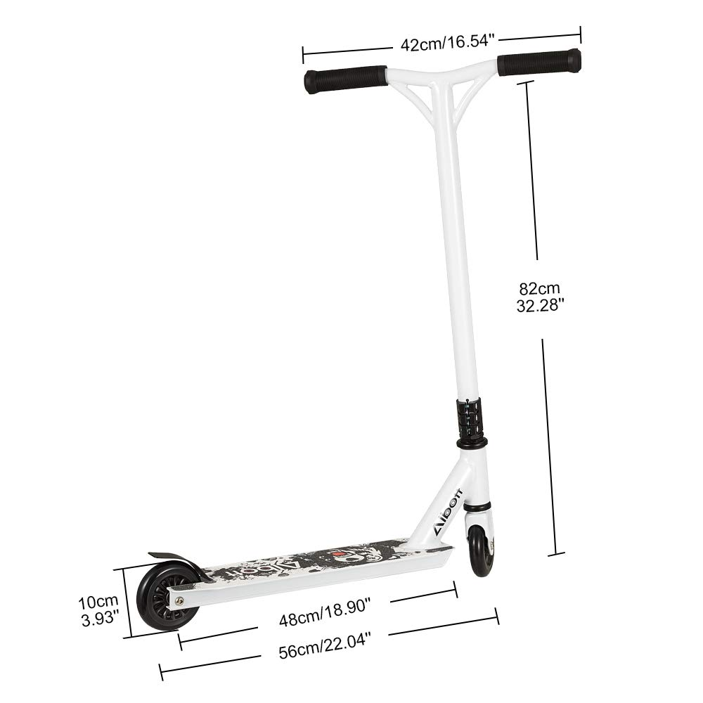 Albott Patinete para Ni/ña Ni/ño y Adultos Patineta de Trucos Freestyle Profesional Aluminio Scooter con 2 Ruedas Barra de Y