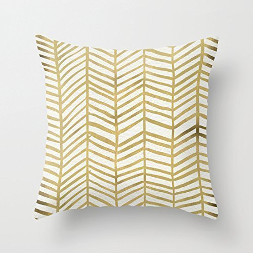 1WillLoanestore-Gold-Herringbone-18-X-18-Creative-Fashion-Polyester-Square-Decorative-Throw-Pillow-Cover