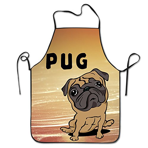 HELEN.KOCO Pug Adjustable Kitchen Aprons With 2 Pockets - Adjustable Neck (Frank The Pug Costume)