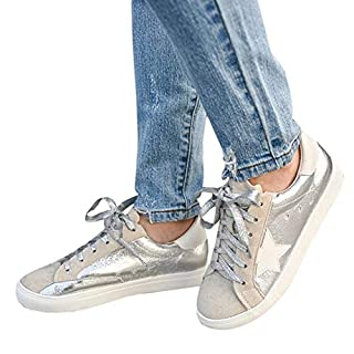 Kathemoi Womens Fashion Sneakers Lace Up Low Top Round Toe Star Casual Walking Flat Shoes Silvery