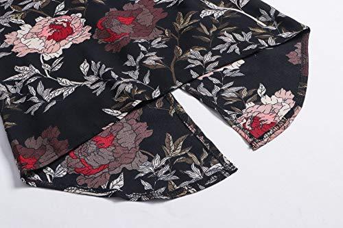Blouse Longues Tee Tops Noir Manches Imprim Femmes Rond Shirts Fashion Casual Hauts Automne Shirts T Col Irregulier Chemisier Printemps B47wqSzR0