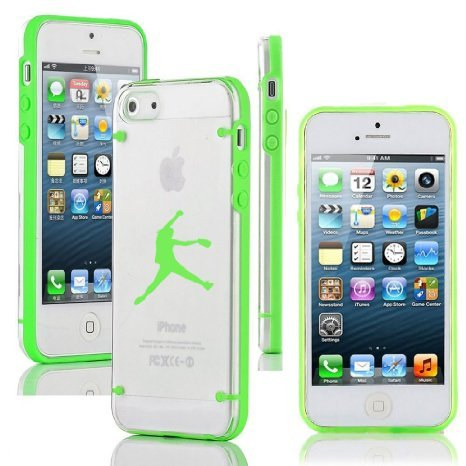 For Apple iPhone 6 Plus / 6s Plus Ultra Thin Transparent Clear Hard TPU Case Cover Female Softball Pitcher (Green) ()
