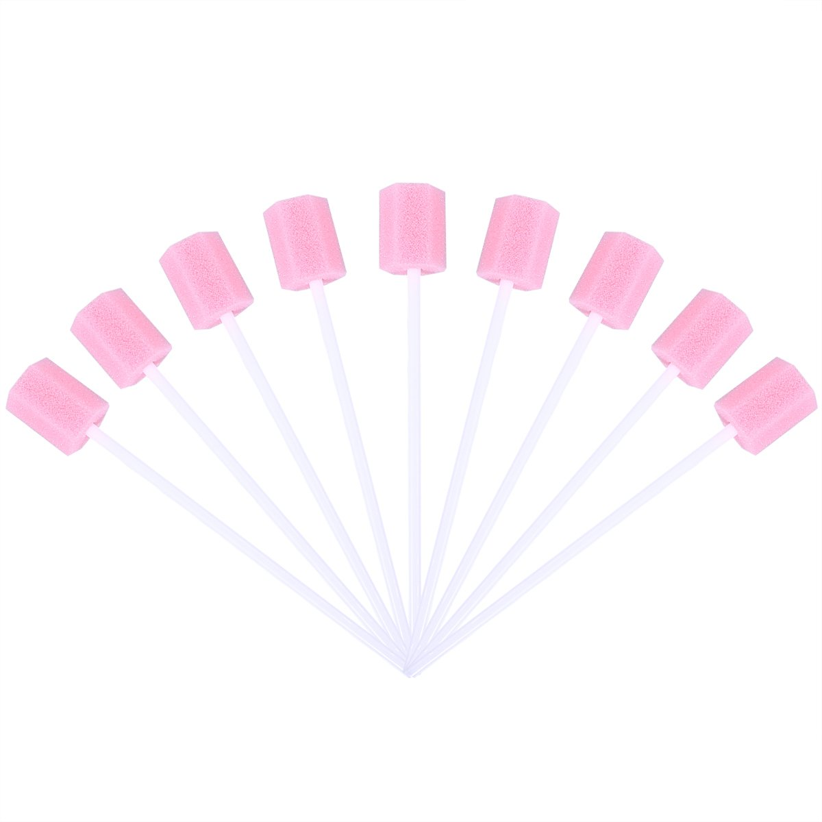 ROSENICE Mouth Sponges Dental Swabs 100pcs Disposable Oral Care Sponge Swab Tooth Cleaning Mouth Swabs (Pink)