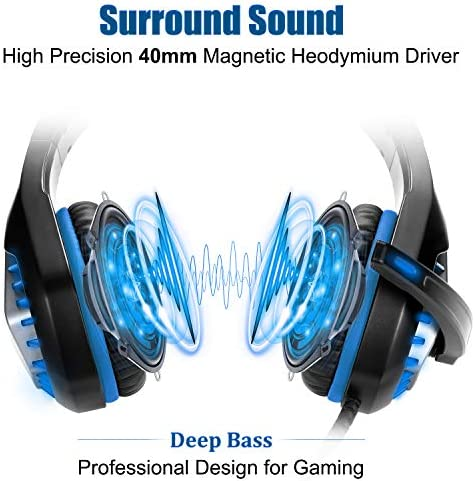 Pacrate Gaming Headset with Microphone for Laptop Xbox One Headset PS4 Headset for Computer Mac with Noise Cancelling Mic Gaming Headphones with Microphone and Led Lights for Kids Adults