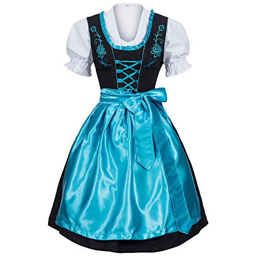 Gaudi-leathers Women's Set-3 Dirndl Pieces 40 Light Blue/Black -