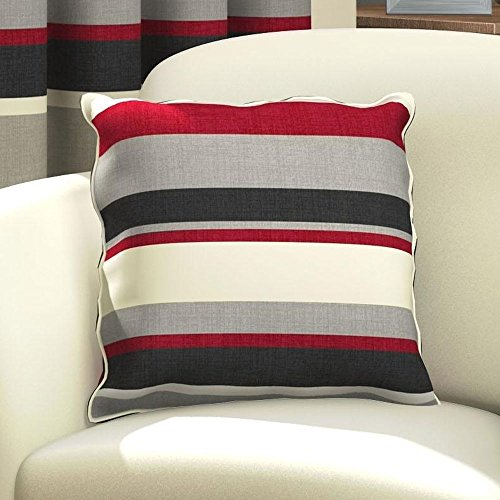 Striped Decorative Throw Cotton Cushion Cover Case Square 17 x 17 Red Black - Red Black Cream
