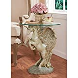 Design Toscano Mystical Winged Unicorn Sculptural Glass-Topped Table, Multicolor For Sale
