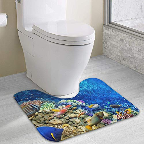 Mastexoru Toilet carpetBath RugNon-Slip Anti-Bacterial U-Shaped Toilet Floor Rug Blue Deep Sea Fishes Contour Bathroom Rug Spa -