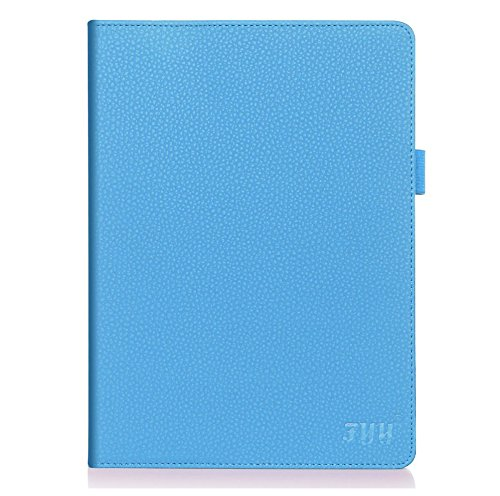 FYY Case for iPad Air 2 - Premium PU Leather Case Smart Auto Wake/Sleep Cover with Hand Strap, Card Slots, Pocket for iPad Air 2 Cyan