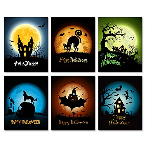 SUMGAR Halloween Art Prints Spooky Manor Black Silhouette Hallows Upcycled Paper Unframed Posters Set of 6-8x10s -