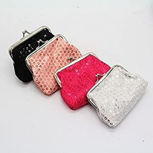 Misaky Womens Sequin Wallet Purse Clutch Bag Bag Vintage Wallet for Evening Party (12cmX9cm, Silver)