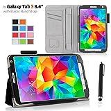 onWay Samsung Galaxy Tab S 8.4 Case - Slim Folding Protective Case Cover for Samsung Galaxy Tab S 8.4 Inch Tablet (SM-T700/SM-T705C) Free stylus pen (with Elastic Hand Strap, Card Holder, Multi-Angle) (For Galaxy Tab S 8.4, BLACK)