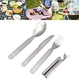 Spoonful Pitchfork Stab - 4pcs Set Portable Tableware Outdoor Picnic Stainless Steel Spoon Fork Knife Opener Camping Tool - Ramification Snog Crotch Tongue Branching Smooch