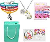 Boonix Girls' Big Unicorn Goodie Bag, Bracelet/Hair Ties/Necklace/Gift Card, Style: You are Braver Than You Believe, Free Size