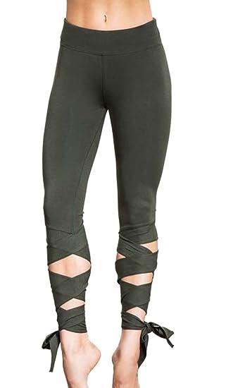 Moxeay Women Cutout Tie Skinny Pants Fitness Yoga Workout Leggings (S 1166150287b