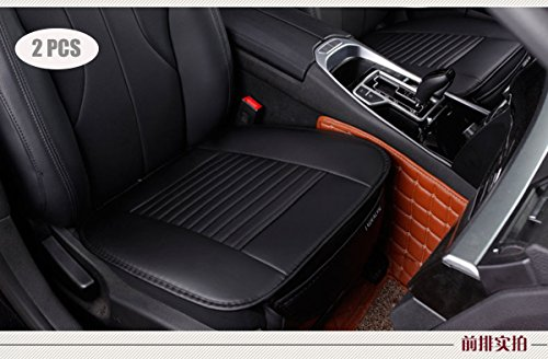 EDEALYN (19.7 inches deep × 20.87 wide) (2PCS) PU leather Car seat cover Car Accessories Car Seat Protector Seat Covers Universal Car (Black-N) (Leather Black Deep)