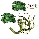 Flexible Bend-A-Branch Jungle Vines Plastic Terrarium Plant Leaves Pet Habitat Decor for Lizard,Frogs, Snakes and More Reptiles(Pack of 3)