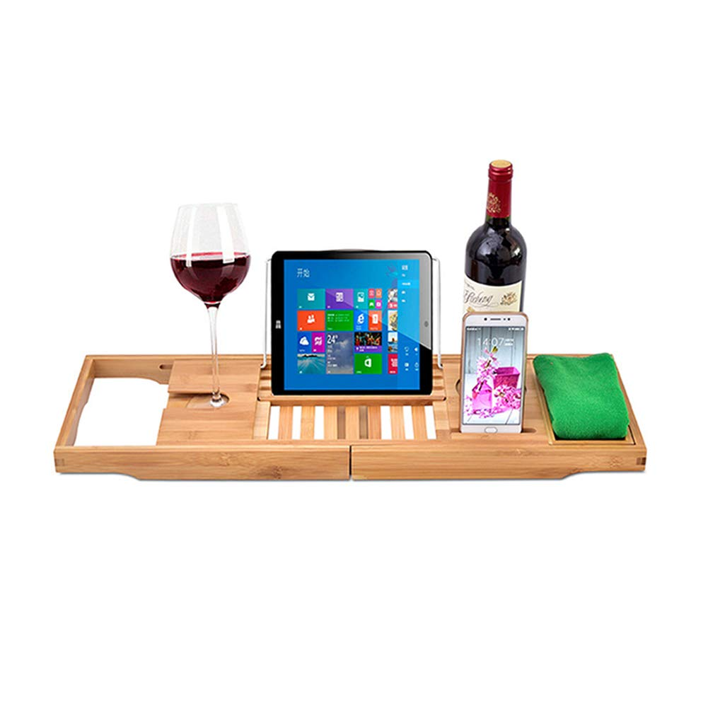 Bridge Wooden Bathtub Tray Non-Slip Can Be Raised and Lowered Bathtub Bracket Can Be Placed Mobile Phone and Red Wine Glass