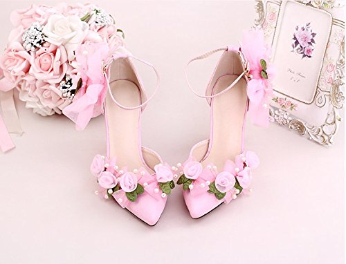 With Sandals A Pointed Fine Wristband 8 Bride Royal Heel Red Heel Bow Shoes Sandals Prom Leather Shoes Wedding Pink VIVIOO Female 9Cm 50qwf56