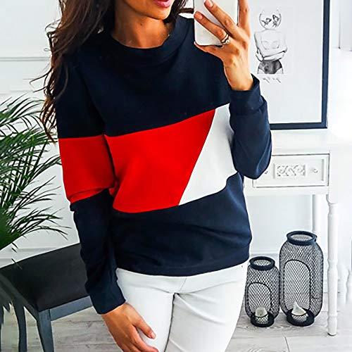O Sweatshirt Tonsee Manches Casual Longues Tops Block Neck Chemises Femme Color Blouse Rouge wqW0xrwXz