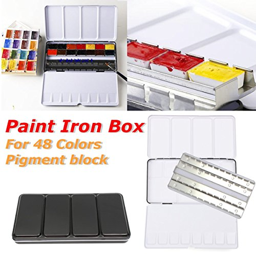 Caveen Watercolour Box Empty Water Colour Paints- Will Hold 48 Half Pans or 24 Full Pans Black - Full Color Metal