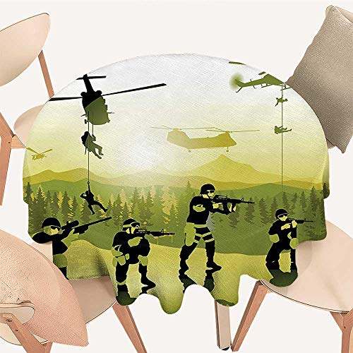 Dragonhome The Round Table Cloth Field Troops Soldiers Landing from Helicopters Weapons Military Print Green for Birthday Party, Graduation Party, 39 INCH Round