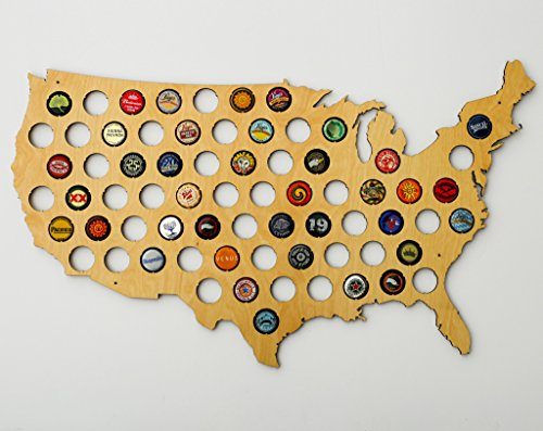USA Beer Cap Map - Ultra Detailed Glossy Wood Bottle Cap Holder - Skyline Workshop (United States Gifts)