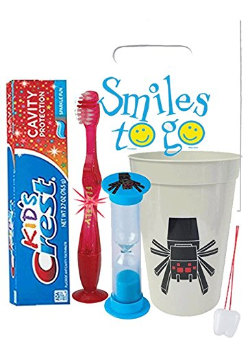 Pixel Spider 4pc Bright Smile Oral Hygiene Bundle! Light Up Toothbrush, Toothpaste, Brushing Timer & Mouthwash Rise Cup! Plus Bonus Dental Gift Bag & Remember To Brush Visual Aid! ()