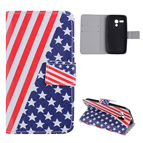 Case For Moto G,Motorola G (1st Gen) [2013 Release] Case,UZZO Motorola Moto G XT1032 Wallet Case Cover - US Flag Pattern Pu Leather Flip Case with Folding Stand,Transparent ID holder,Credit Card Slots,Leather Folio Book Style Protective Case Cover for Motorola G XT1032 2013 Release With 1Free Keyring,Not Fit Moto G2 (2nd Gen)(US Flag)