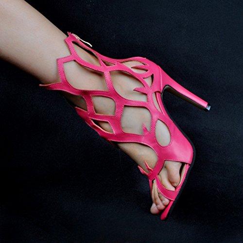 Tacco Aperta Dei Pattini 10 Delle Estivi Centimetri Sexy Handmade Donne Rosa Toe Alto Sandali Cerniera Kolnoo OtRzO