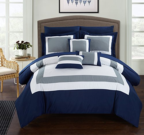 Chic Home Duke 10 Piece Comforter Set Complete Bed in a Bag Pieced Color Block Patterned Bedding with Sheet Set And Decorative Pillows Shams Included, Queen Navy (And Blue Comforter Gray)