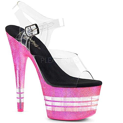Pleaser ADORE-708UVLN Clr/Neon Bubble Gum Pink Glitter 5IleQ8