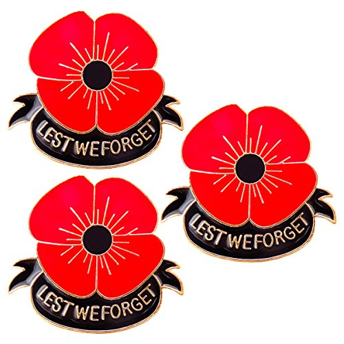 3 PCS Remember Memorial Day Gifts Flower Red Black Poppy Brooch Pin Lest We Forget (Badges Pins)