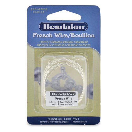 Beadalon French Wire 0.8mm Silver Plated, 1-Meter (Wire French Bullion)