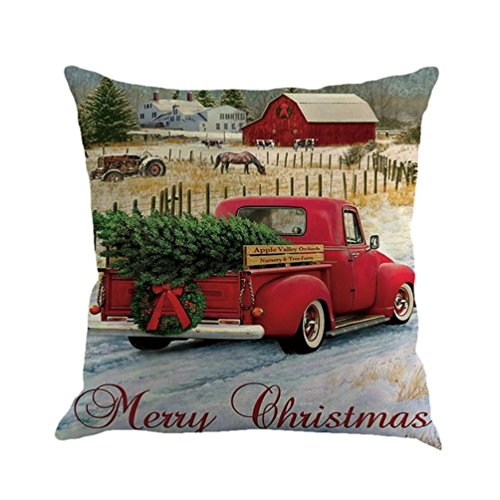 Christmas Pillow Case,Beautyvan Christmas Linen Square Throw Flax Pillow Case Decorative Cushion Pillow Cover (5~F)