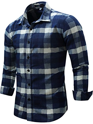 Neleus Men's Long Sleeve Button Down Plaid Denim Work Shirt,113,Dark Blue,L,EUR XL