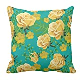 TYYC New Year Gifts for Home Green Floral Pattern Printed Single Cushion Cover - 12x12 inches