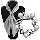 Maikun Scarf Clip Fashionable Flower Design Pearl Diamante Multi-uses Scarf Jewelry Silver White Gift for Valentine's Day
