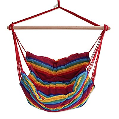 "NOVICA Rainbow Striped 1 Person Brazilian Cotton Hammock Swing Chair with Eucalyptus Wood Spreader Bar, Jungle Rainbow' (Single) - Size: 47"" H x 43"" W x 49"" D Authentic: an original NOVICA fair trade product in association with National Geographic. Certified: comes with an official NOVICA Story Card certifying quality & authenticity. - patio-furniture, patio, hammocks - 51BYX6vI bL. SS400  -"