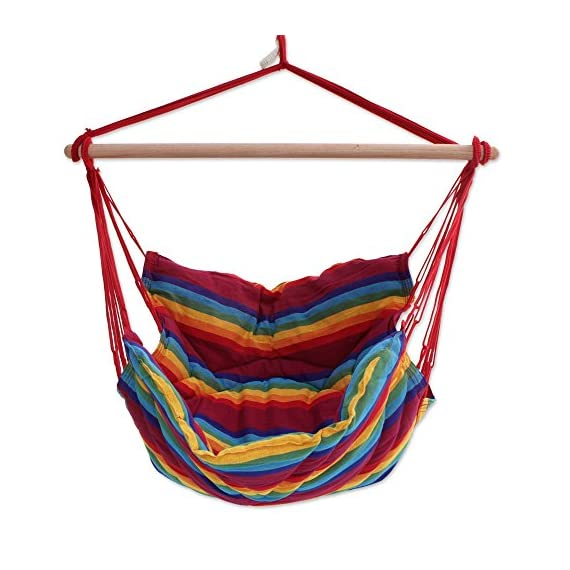 """NOVICA Rainbow Striped 1 Person Brazilian Cotton Hammock Swing Chair with Eucalyptus Wood Spreader Bar, Jungle Rainbow' (Single) - Size: 47"""" H x 43"""" W x 49"""" D Authentic: an original NOVICA fair trade product in association with National Geographic. Certified: comes with an official NOVICA Story Card certifying quality & authenticity. - patio-furniture, patio, hammocks - 51BYX6vI bL. SS570  -"""